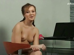 Braided pigtails teen in solo striptease video tubes