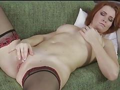 Gorgeous redheaded milf masturbates bald pussy tubes