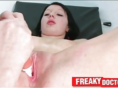 Cute pierced girl enjoys pussy exam tubes