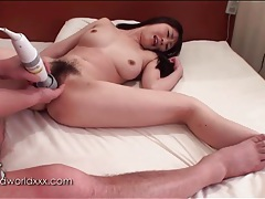 Fingered and vibrated japanese cunt tubes