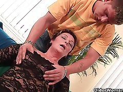 Sexy grandma enjoys his cock in her mouth and hairy pussy tubes
