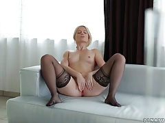 Solo blonde in sexy black stockings masturbates tubes