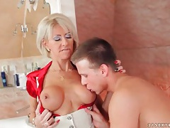 Milf slut swallows his young dick lustily tubes