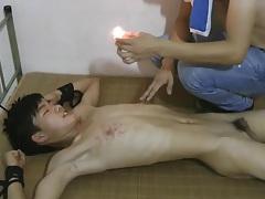 Cute slim asian boy slave hot pain wax tubes