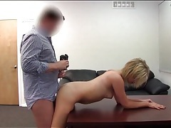 Chubby guy fucks cute blonde on casting couch tubes