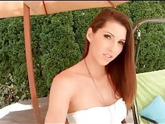 Sexy strapless white dress on brunette goddess tubes