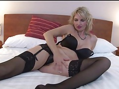 Big boobs milf models black lingerie in hotel room tubes