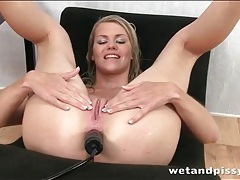 Toys up the ass of a hot pissing blonde tubes