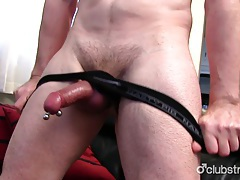 Pierced straight marc jerking off his pecker tubes