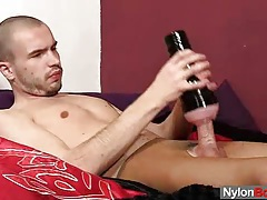 Twink steven sperms on pantyhose tubes