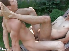 Outdoor missionary anal fuck with a couple of twinks tubes