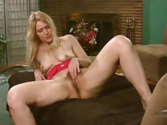 Solo blonde milf trish in red lace lingerie tubes