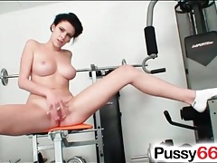 Busty girl strips and works out in the nude tubes