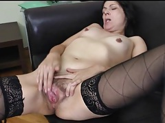 Skinny mature girl fingers pussy and asshole tubes