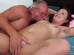 Old man and cutie have pissing fun tubes