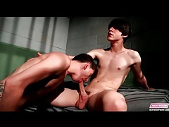Twinks in jail cell suck cock passionately tubes
