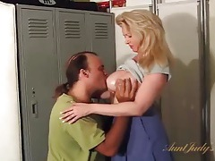 Milf sucks a fat cock in the locker room tubes
