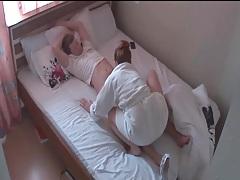 Cute girlfriend in bathrobe rides his dick tubes