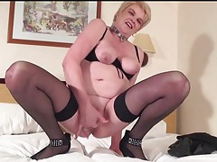 Mature has a dozen pussy piercings to show off tubes