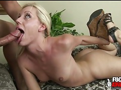 Blue eyed beauty with lean body gets throat fucked tubes