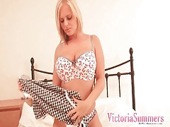 Blonde fondles big natural tits in stockings tubes