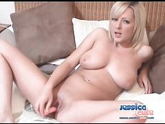 Cute blonde fills her vagina with a dildo tubes
