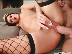 Skinny girl in fishnets balled in her asshole tubes