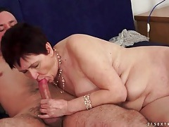 Old lady sucks young dick that fucks her tubes