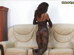 Crotchless black lace body stocking on a babe tubes