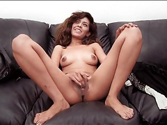 Beautiful brunette sucks and strokes small dick tubes