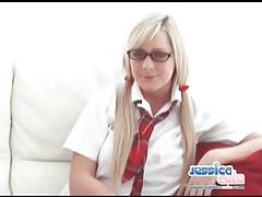Chubby guy fingers and licks cute schoolgirl tubes