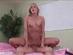 Tanned blonde mom sits her box on his cock tubes