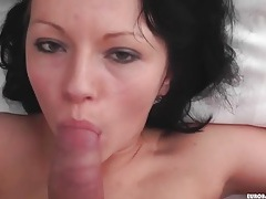 Hot slut in tattered jeans strips and sucks dick tubes
