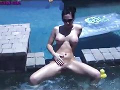Hot tub babe destiny dixon in a tiny bikini tubes