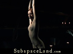 Restrained and punished redhead slave screams in pleasure tubes
