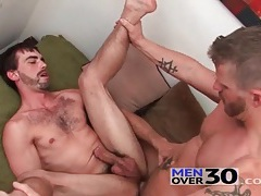 Balls deep anal sex with two bearded guys tubes