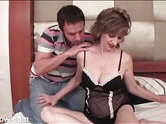 Hot old bitch in lingerie sucks his cock tubes