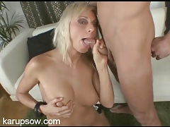 Cocksucking blonde feels his cum on her face tubes