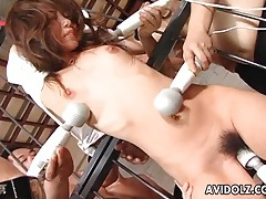 Bound japanese babe vibrated by many toys tubes