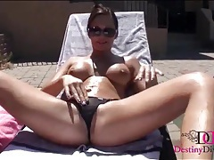Destiny dixon models her dripping wet cunt outdoors tubes