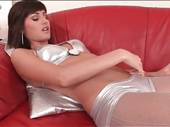 Shiny silver lingerie is sexy on brunette katty heart tubes