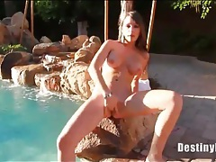 Poolside striptease with bodacious destiny dixon tubes