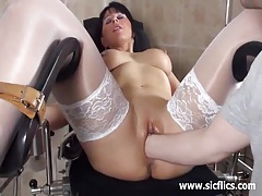 Blond milf fist fucked by her doctor tubes