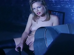 Blonde fingering and masturbating in thigh highs tubes