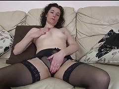 Curly hair milf in sexy black stockings tubes