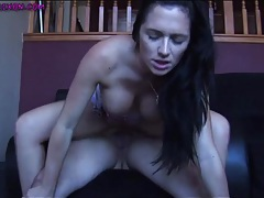Cock riding destiny dixon takes load on her stomach tubes