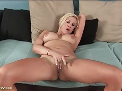 Naked blonde with nice tits masturbates her box tubes