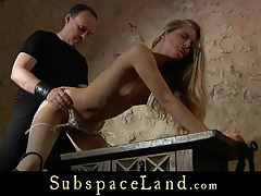 Slave girl dressed sexy for a high submission between ropes tubes