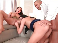 Hot brunette banged in the ass and sucking dick tubes