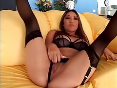 Nautica thorn threesome sex in black lingerie tubes